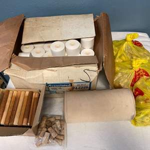 Lot # 27 Lot of Bulk Items - Receipt Paper Rolls, Corks, Fabric, Wood Dowels