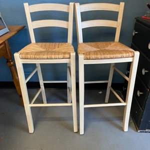 Lot # 28 Two Wooden Stools (White) with Wicker Seats