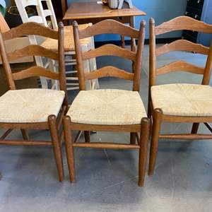 Lot # 29 Three Wooden Chairs with Wicker Seats