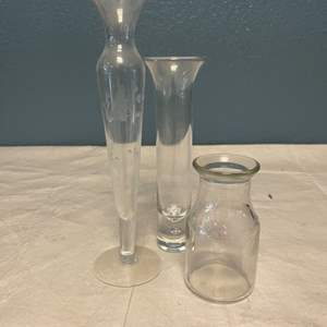 Lot # 30 Three Skinny Glass Vases