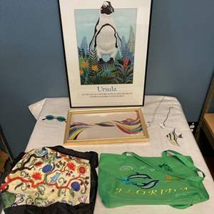 Lot # 33 Penguin Print, Print of Lady Dancing, Bags, Jewelry