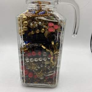 Lot # 43 Lot of Costume Jewelry in Glass Vase