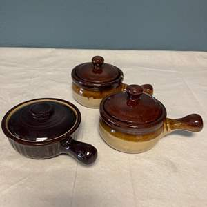 Lot # 48 Three Brown Crock Bowls (For Soup)