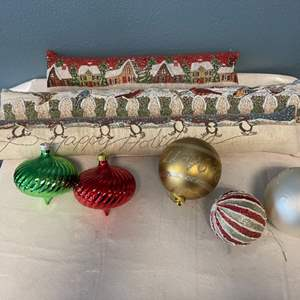 Lot # 49 Large Outdoor Ornaments and Skinny Holiday Throw Pillows