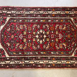Lot # 54 Small Decorative Rug, Red and Cream