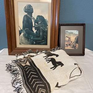 Lot # 60 Lot of Tribal Items - Pictures and Blanket
