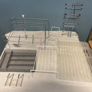 Lot # 62 Rolling Metal Dish Rack Shelf with Other Metal Kitchen Shelves