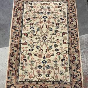 Lot # 77 Floor Rug 1 - Cream Color with Blue and Pink Floral Accents
