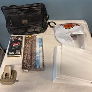 Lot # 102 Lot of Organizational Items - Binders, Checkbook File, Drawer Liner, Bag, Extension Cords