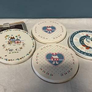 Lot # 103 Lot of Decorative Burner Covers - Porcelain Enamel on Steel