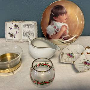 Lot # 110 Lot of Porcelain and Glass Items with Goldtone Trim