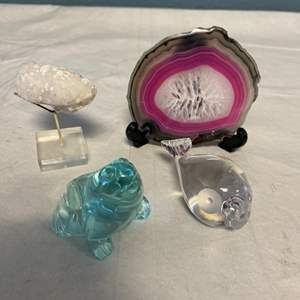 Lot # 119 Lot of Miniatures - Glass Figurines and Geodes