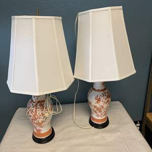 Lot # 34 Pair of Floral Lamps