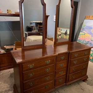 Lot # 36 Wooden Dresser/Vanity with Two Removable Mirrors