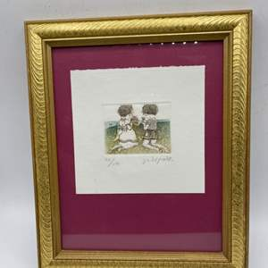 Lot # 53 Print Of A Boy And A Girl Kneeling