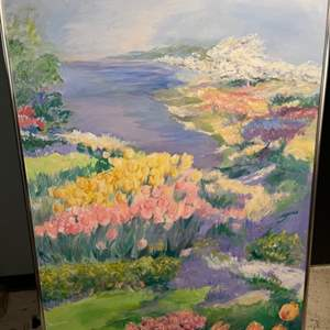 Lot # 55 Painting of Floral Scene, Signed Jacquie Flood