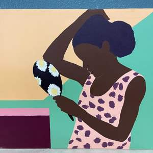 Lot # 58 Painting of A Woman Looking Into A Mirror By Jacquie Flood