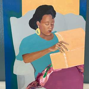 Lot # 59 Painting of A Woman Opening A Chest By Jacquie Flood