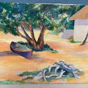 Lot # 64 Painting of A Beached Boat By Jacquie Flood