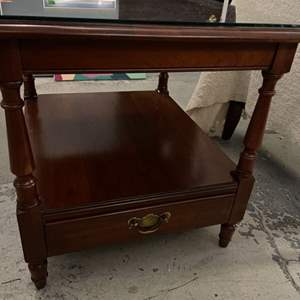 Lot # 65 Wooden Coffee Table with Bottom Drawer and Glass Top