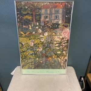 """Lot # 68 Print of Girl in Garden, Signed """"E. Vuillend"""""""
