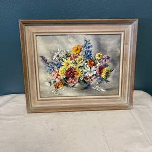 Lot # 70 Print of Colorful Flowers in a Vase, Signed BowleB