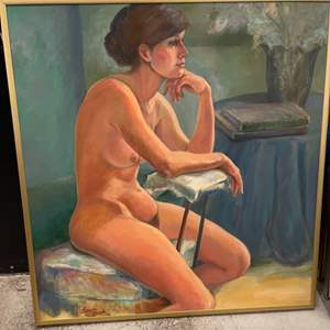 Lot # 73 Painting of Naked Woman Contemplating, Signed Jacquie Flood