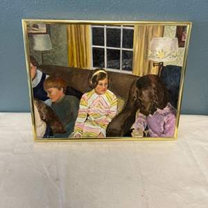 Lot # 74 Painting of Four People, Signed Jacquie Flood