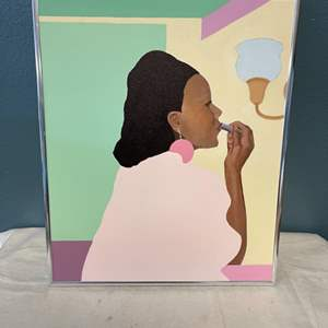 Lot # 76 Painting of Woman Putting On Lipstick, Signed Jacquie Flood