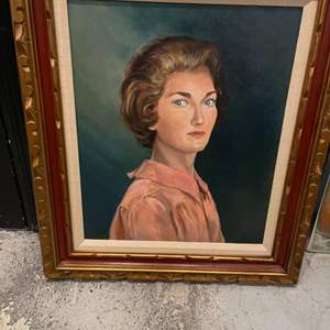 Lot # 78 Portrait Painting of a Woman in Pink