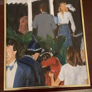Lot # 81 Painting of 1920's Themed Party, Signed Jacquie Flood
