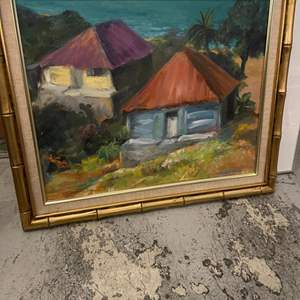 """Lot # 82 Painting Titled """"Along 'Old Road' Antigua"""", signed Jacquie Flood"""