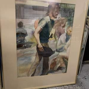 Lot # 84 Painting of Man Walking, Signed Jacquie Flood