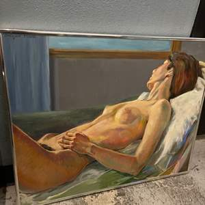 Lot # 86 Painting of Naked Woman Facing Away, Signed Jacquie Flood