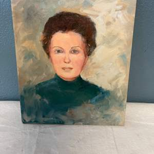 Lot # 87 Portrait Painting of A Woman in Blue, Signed Jacquie Flood - No Frame
