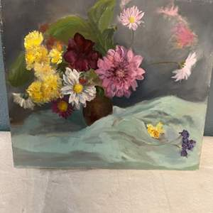 Lot # 88 Painting of Flowers in Vase and Blanket, Signed Jacquie Flood - No Frame