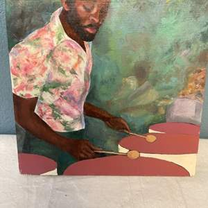 Lot # 89 Painting of Man Playing Timpani, Signed Jacquie Flood - No Frame