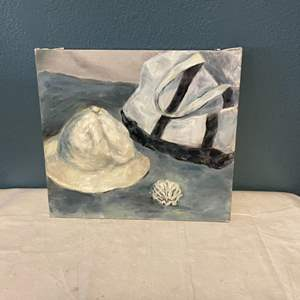 Lot # 90 Painting of Hat, Bag, and Shell, signed Jacquie Flood - No Frame