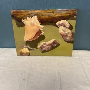 Lot # 91 Painting of Shells and Rocks, signed Jacquie Flood - No Frame
