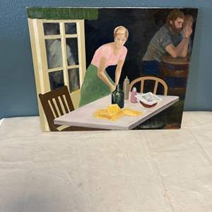 """Lot # 92 Painting Titled """"PK Sweater Girl Bar"""" signed Jacquie Flood - No Frame"""