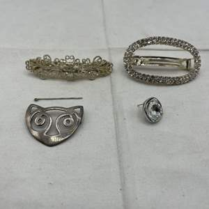 Lot # 116 Silvertone Jewelry and Hairclips