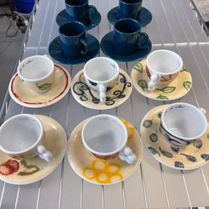 Lot # 117 Two Espresso Cup Sets - Blue and Floral