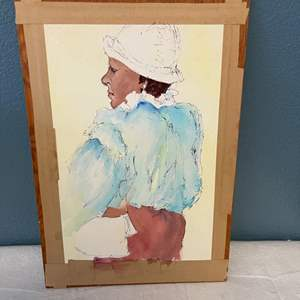 Lot # 119 Print Of A Woman Facing Away - On Wooden Board