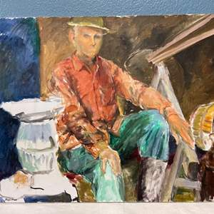 Lot # 125 Painting Of A Man Sitting By Jacquie Flood