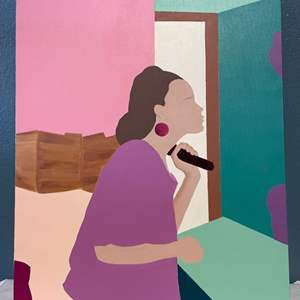 Lot # 129 Painting Of A Woman Shaving