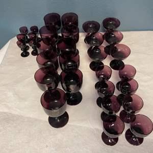 Lot # 140 Set of Dark Red/Purple Glass Cups