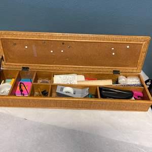 Lot # 153 Office Supplies in Wicker Box - Built In Cork Board