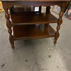 Lot # 154 Wooden Endtable with Two Shelves
