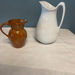 Lot # 161 Two Pitchers - Brown CRNFT and White Royal Ironstone China