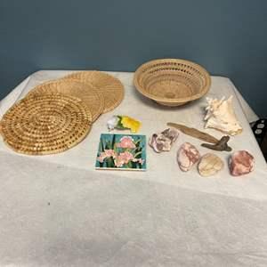 Lot # 166 Seashells, Stones, Petrified Wood, and Woven Items